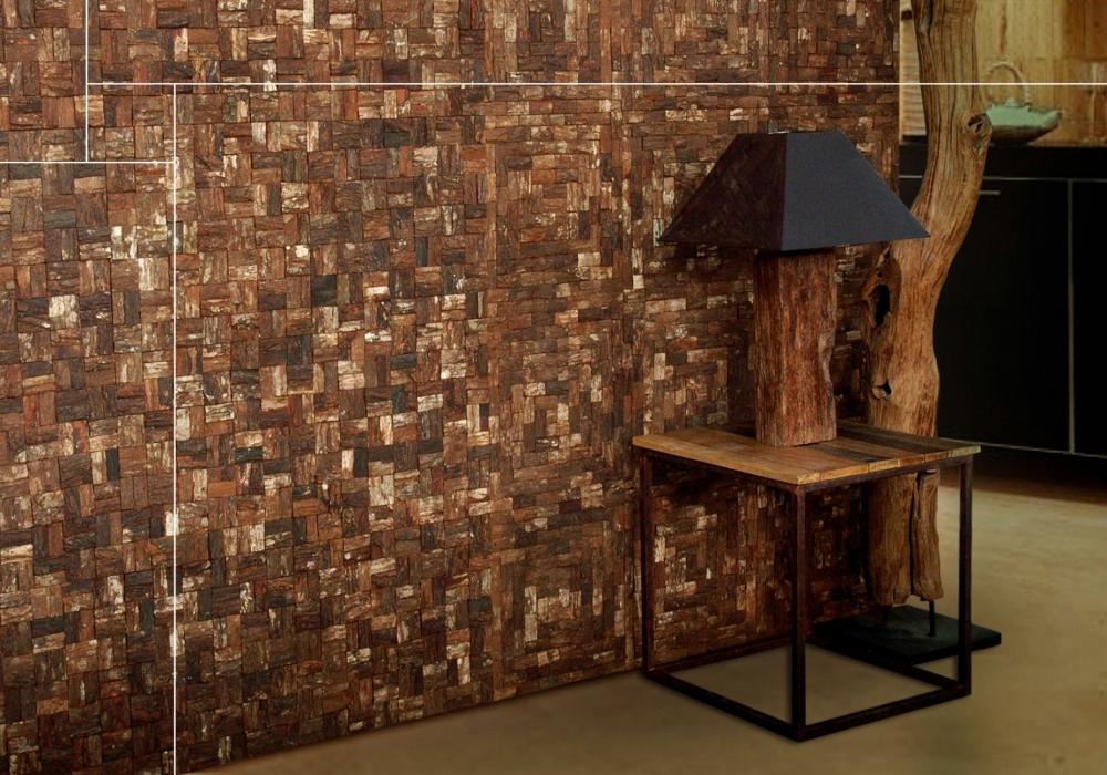 Project tafel met lamp met Prambanam besar mahogany bark natural