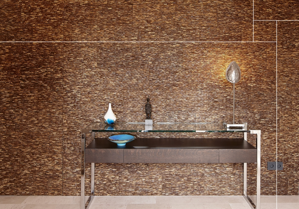 Project tafel met Omo Niha coco stone grain natural