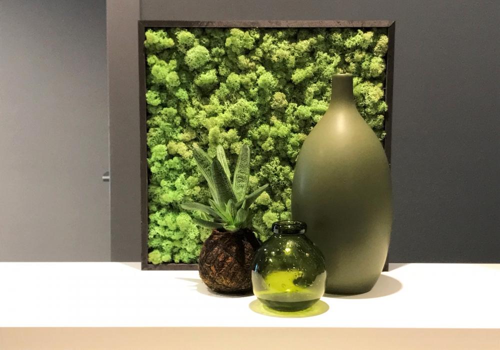 Torvtak mintgreen wall deco met vazen en kokedama op een boekenplank