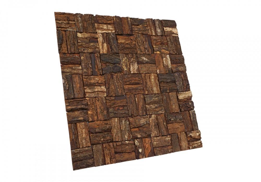 Prambanam besar mahogany bark natural paneel zijaanzicht
